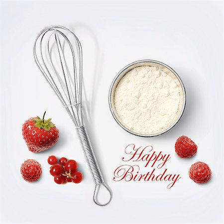 strawberries - Flour and whisk for a birthday cake Stock Photo - Rights-Managed, Code: 825-07523003