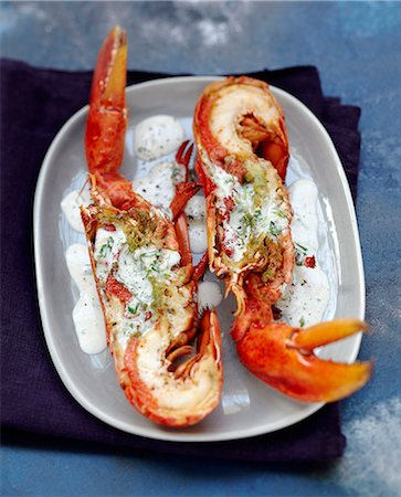 Grilled lobster in creamy sauce Stock Photo - Rights-Managed, Code: 825-07649309