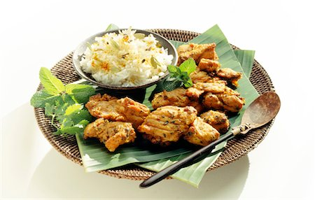paprika - Chicken Tandoori and rice with coriander Stock Photo - Rights-Managed, Code: 825-02302497