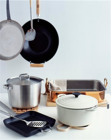 Cooking pots, pans and utensils Stock Photo - Rights-Managed, Code: 825-03628161