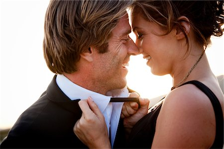 Smiling Couple about to Kiss Stock Photo - Rights-Managed, Code: 822-05554370