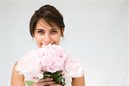 peony - Woman Holding Pink Peonies Stock Photo - Rights-Managed, Code: 822-05554402