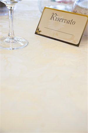 Reserved Sign at Italian Restaurant Stock Photo - Rights-Managed, Code: 822-05554427