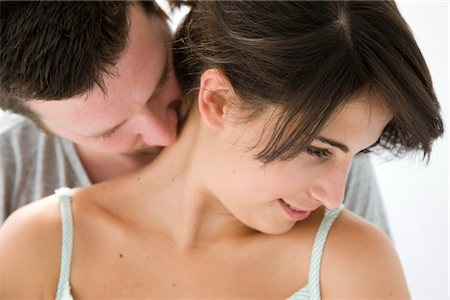 Man Kissing Back of Woman Neck Stock Photo - Rights-Managed, Code: 822-05554460