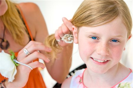 preteen girl pigtails - Mother Fixing Daughter Hair Stock Photo - Rights-Managed, Code: 822-05554627
