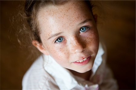 Portrait of Young Girl, High Angle View Stock Photo - Rights-Managed, Code: 822-05554838