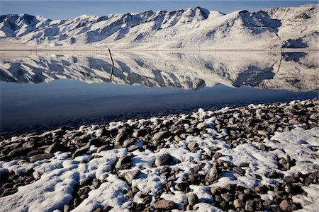 panoramic winter scene - Snow Covered Mountains Reflecting in Lake Stock Photo - Rights-Managed, Code: 822-05554878