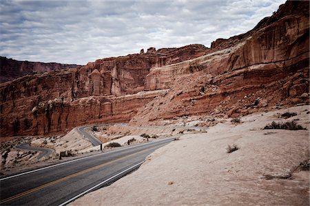 Winding Road and Sandstone Formations Stock Photo - Rights-Managed, Code: 822-05554895