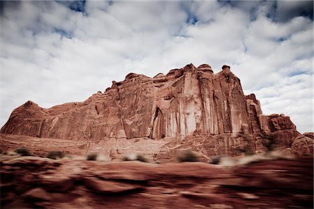 Sandstone Formations and Cloudy Sky, Blurred Motion Stock Photo - Rights-Managed, Code: 822-05554929