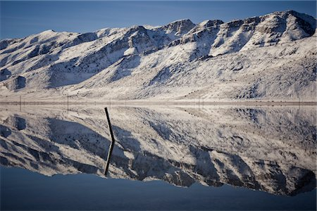 panoramic winter scene - Snow Covered Mountains Reflecting in Lake Stock Photo - Rights-Managed, Code: 822-05554955