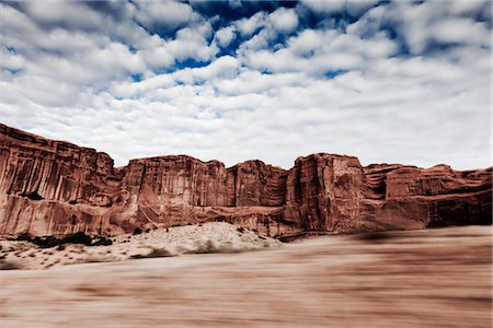 Sandstone Formations and Cloudy Sky, Blurred Motion Stock Photo - Rights-Managed, Code: 822-05554953