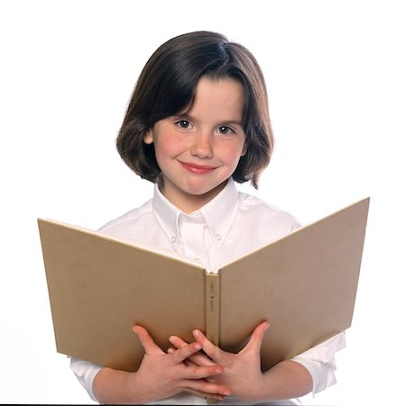 preteen  smile  one  alone - Girl Holding Open Book Stock Photo - Rights-Managed, Code: 822-05555001