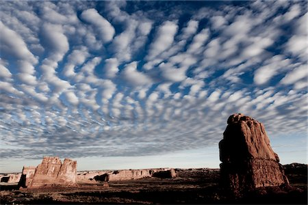 Sandstone Fins and Cloud Formations Stock Photo - Rights-Managed, Code: 822-05555063