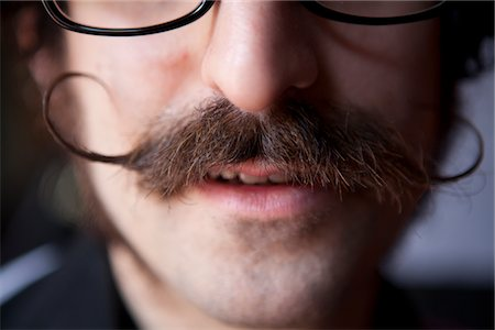 Man with Curled Pointy Moustache, Cropped Stock Photo - Rights-Managed, Code: 822-05555145