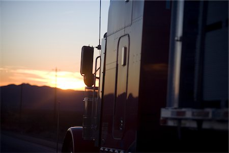 side view tractor trailer truck - Truck at Sunset, Close-up view Stock Photo - Rights-Managed, Code: 822-05555147