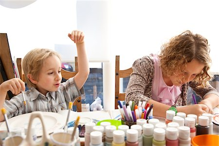 Boy and Girl at Art Class Stock Photo - Rights-Managed, Code: 822-05555187