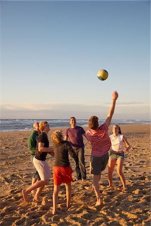 families playing on the beach - Group of People Playing Volleyball on Beach Stock Photo - Rights-Managed, Code: 822-05948397