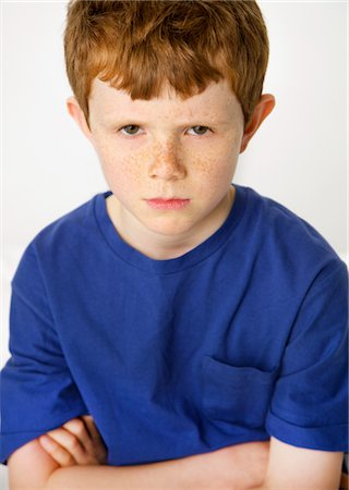 Portrait of Boy Sulking Stock Photo - Rights-Managed, Code: 822-05948711