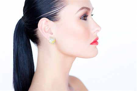 Profile of Woman with Red Lipstick Stock Photo - Rights-Managed, Code: 822-06302442