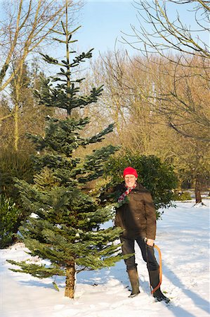 snow christmas tree white - Man Holding Christmas Tree and Handsaw Stock Photo - Rights-Managed, Code: 822-06302475