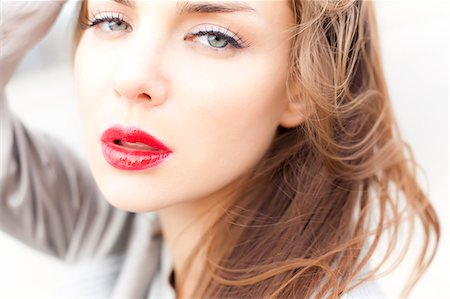 passion - Close up of Young Woman Wearing Red Lipstick Stock Photo - Rights-Managed, Code: 822-06302593