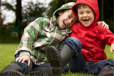 preteen boys playing - Two Boys Laughing Outdoors Stock Photo - Rights-Managed, Code: 822-06302607