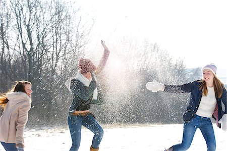 friendship - Teenage Girls in Snowball Fight Stock Photo - Rights-Managed, Code: 822-06302645