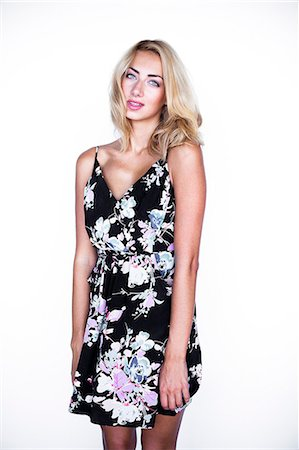 Woman in Floral Dress Stock Photo - Rights-Managed, Code: 822-06302654