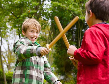 recreation - Two Boys Playing at Sword Fighting Stock Photo - Rights-Managed, Code: 822-06302691