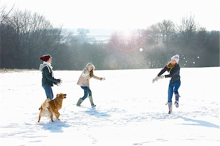 recreation - Teenage Girls and Dog in Snowball Fight Stock Photo - Rights-Managed, Code: 822-06302728