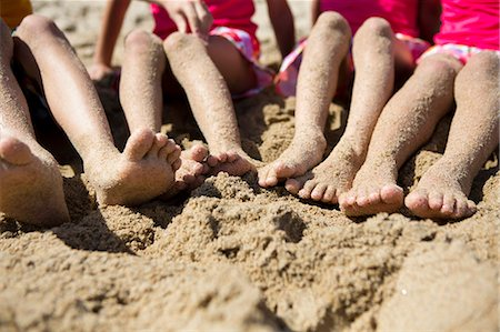 Sand Covered Legs and Feet of Four Children Stock Photo - Rights-Managed, Code: 822-06702175