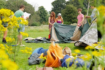 Group of Teenagers Erecting Tent Stock Photo - Rights-Managed, Code: 822-06702181