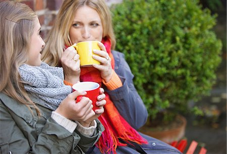 daughter middle-aged mother women young adults - Mother and Daughter Having Hot Drinks Outdoors Stock Photo - Rights-Managed, Code: 822-06702210