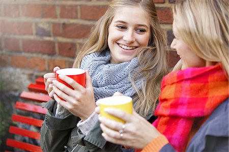 Mother and Daughter Having Hot Drinks Outdoors Stock Photo - Rights-Managed, Code: 822-06702250