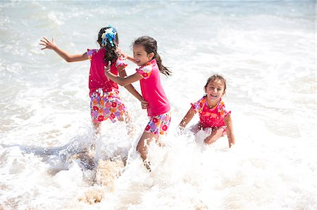 Girls in Matching Outfit Playing in Sea Water Stock Photo - Rights-Managed, Code: 822-06702283