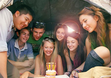 Group of Teenagers Celebrating Birthday Stock Photo - Rights-Managed, Code: 822-06702313