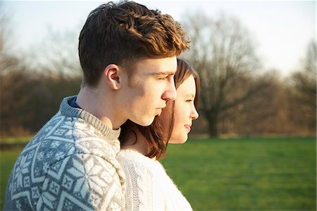 Profile of Young Couple in Park Stock Photo - Rights-Managed, Code: 822-06702387