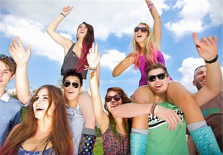 summer - Group of Teenagers Cheering at Music Festival Stock Photo - Rights-Managed, Code: 822-06702494
