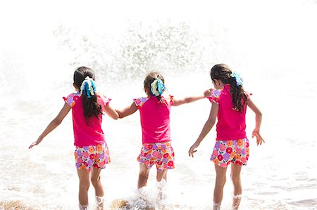 Back View of Girls in Matching Outfit Walking into the Sea Stock Photo - Rights-Managed, Code: 822-06702559
