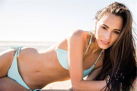 Young Woman on Beach Wearing Bikini Stock Photo - Rights-Managed, Code: 822-07117339