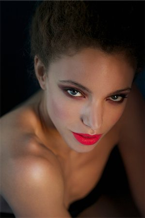 Close up of Young Woman with Red Lips Stock Photo - Rights-Managed, Code: 822-07117385