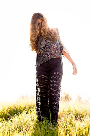 Woman Walking in Field Stock Photo - Rights-Managed, Code: 822-07117401