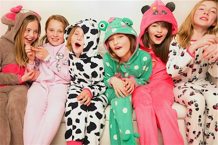Group of Smiling Girls Wearing Animal Costumes Stock Photo - Rights-Managed, Code: 822-07117410