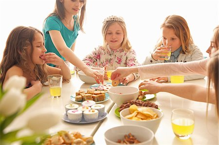 Group of Girls Eating and Drinking Around Table Stock Photo - Rights-Managed, Code: 822-07117411