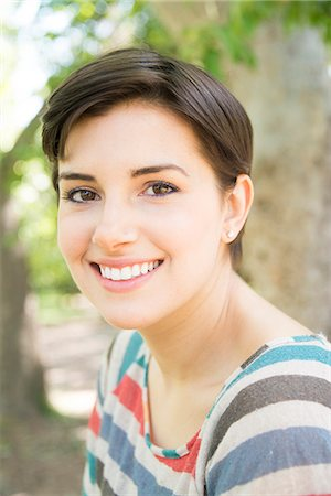short hair - Smiling Young Woman Outdoors Stock Photo - Rights-Managed, Code: 822-07117465
