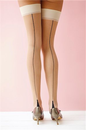 Back View of Woman Wearing Stockings and High Heels, Low Section Stock Photo - Rights-Managed, Code: 822-07117487