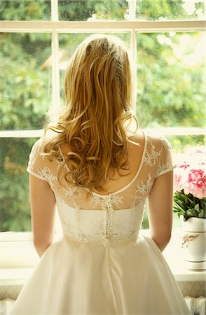 Back View of Young Bride Looking Out of Window Stock Photo - Rights-Managed, Code: 822-07117515