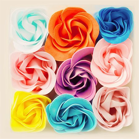 flowers - Decorative Felt Roses in Assorted Colours Stock Photo - Rights-Managed, Code: 822-07117516