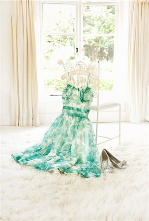 Dress Hanging on Chair with Shoes Stock Photo - Rights-Managed, Code: 822-07117512