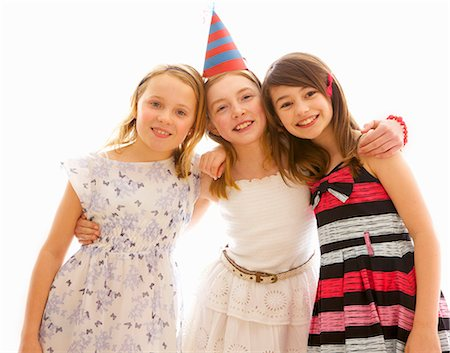 Portrait of Three Young Girls at Party Stock Photo - Rights-Managed, Code: 822-07117567